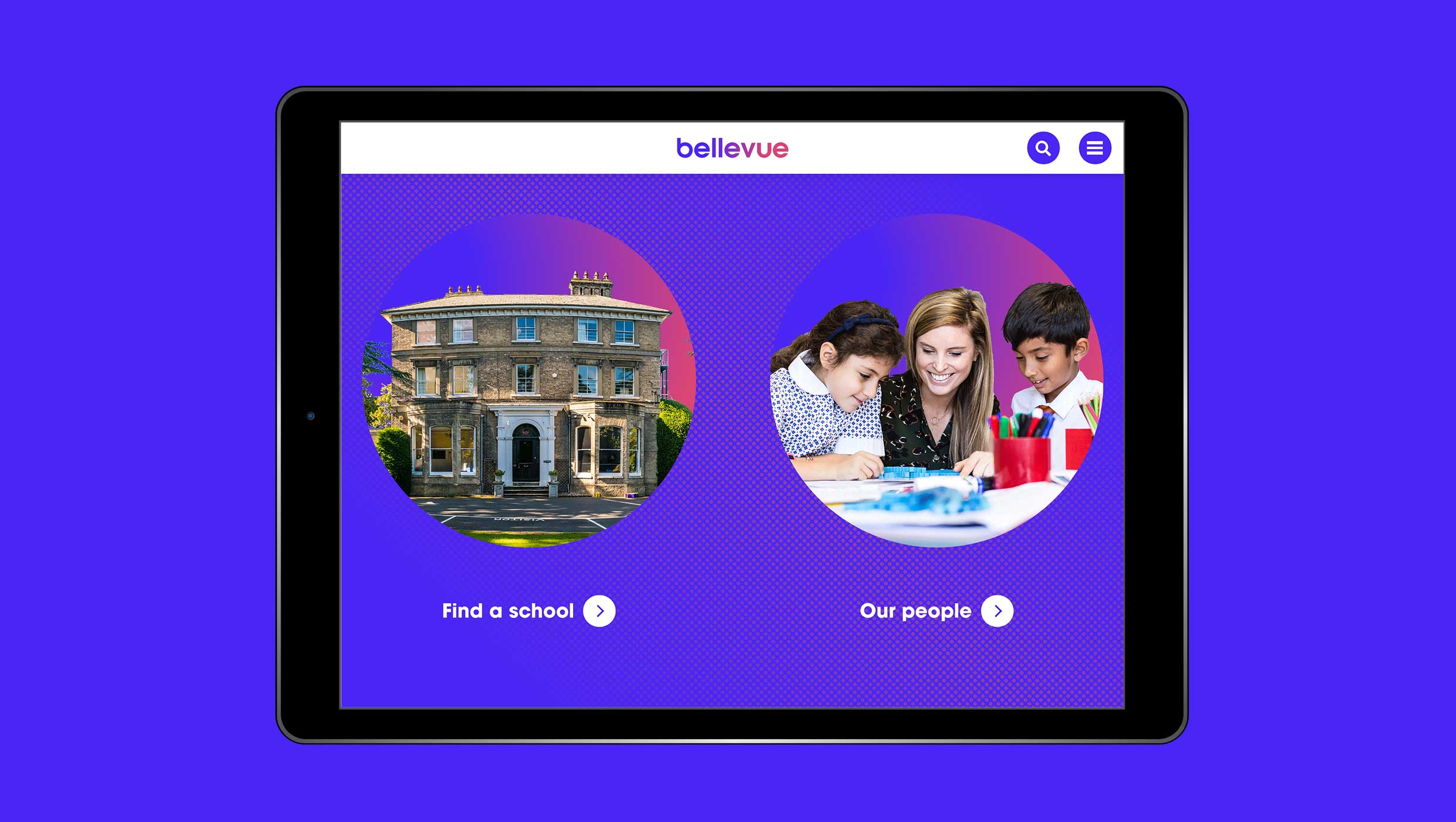 Branding and website for Bellevue Education, a family of exceptional schools